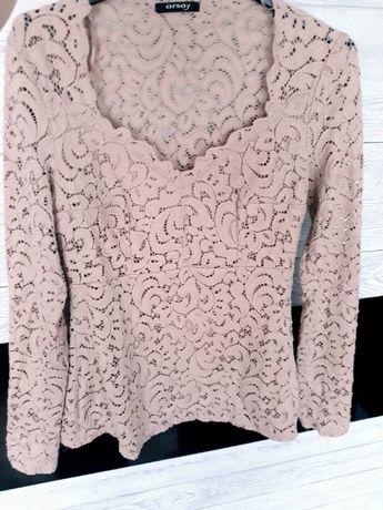 koronkowa bluzka Orsay pudrowy róż 38 S, M baskinka raz założona