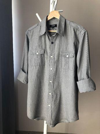 Koszula casualowa w pepitkę w kratkę szara Ravel casual pepitka M L