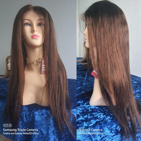 Натуральный парик имитация кожи славянские волосы темно русые 70см!
