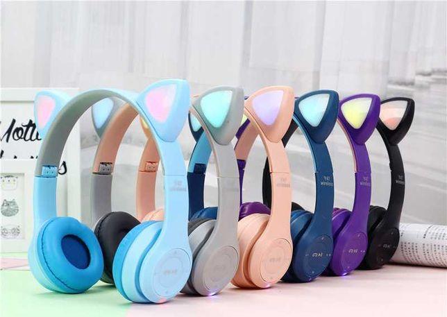 Беспроводные Bluetooth детские наушники с ушками с LED подсветкой