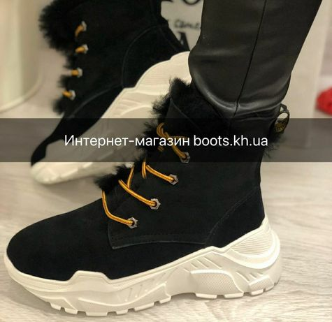 Женские зимние ботинки в стиле ugg замшевые кожаные сапоги зима