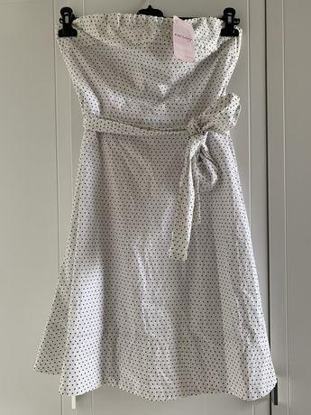 Nowa sukienka Orsay biała w kropki rozmiar L