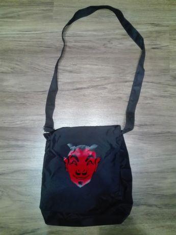 Torba, torebka na ramię, nadruk satan, kieszenie, poliester, punk nowa