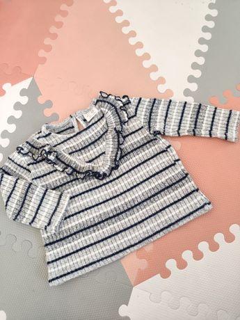 Sweterek w paski falbanka Zara r. 74
