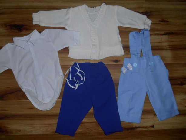 Komplet do chrztu 62 chłopiec - koszula body,sweterek,2xspodnie,buciki