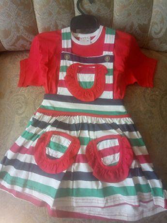 костюм детский девичий футболка и платье 100 % хлопок Турция новый