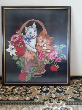 """Вышитая картина крестом """" Котята в корзине """"."""