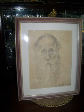 Stary obraz-Rysunek Portret Żyda- Ołówek