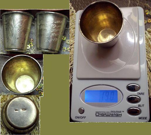 Коньячная рюмка, серебро-875 с позолотой