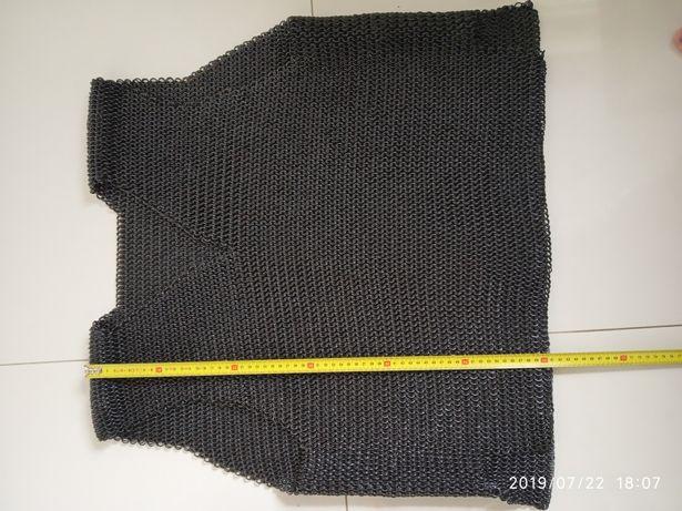 Kolczuga kolcza rycerstwo larp hobby XL czarna podwójne kółka