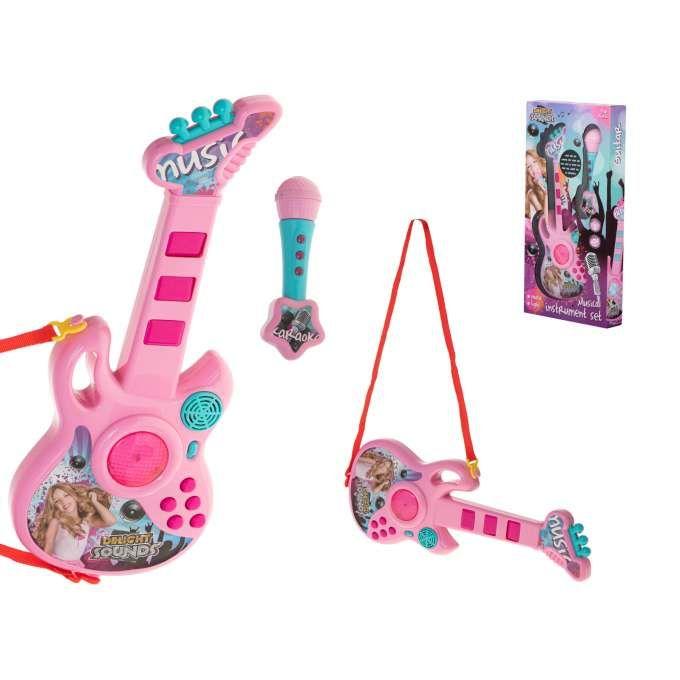 Gitara Eleketryczna Z mikrofonrm Różowa
