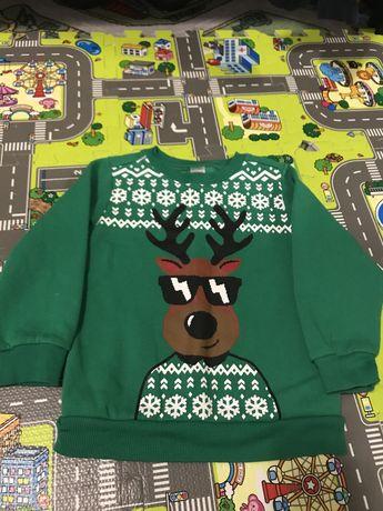Новогодний нарядный свитер, кофта на 4 года Carters