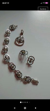 Komplet srebrny wisiorek kolczyki bransoletka