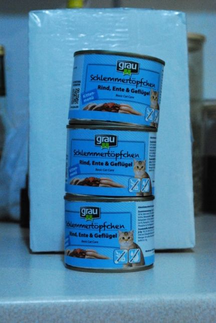 karma dla kota Grau Kitten 3x 200g wołowina kaczka drób