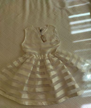 Vestido Jean Bourget branco com riscas transparentes e opacas