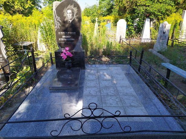 Благоустройство могил, фундамент, тротуарная плитка, гранит, памятник