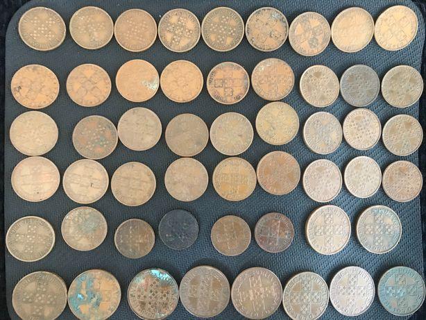Lote Moedas XX centavos 50 centavos e 1 escudo de bronze