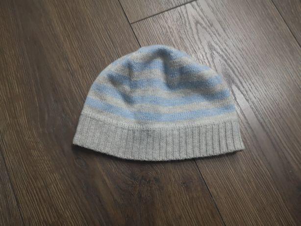 Cieplutka czapka next niebiesko szara w paski 62/68