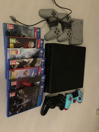 PS4 slim 1 tb + 2 pady + 7gier + PS classic