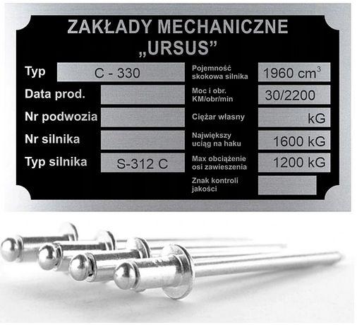 Tabliczka znamionowa URSUS C330 aluminiowa + nity
