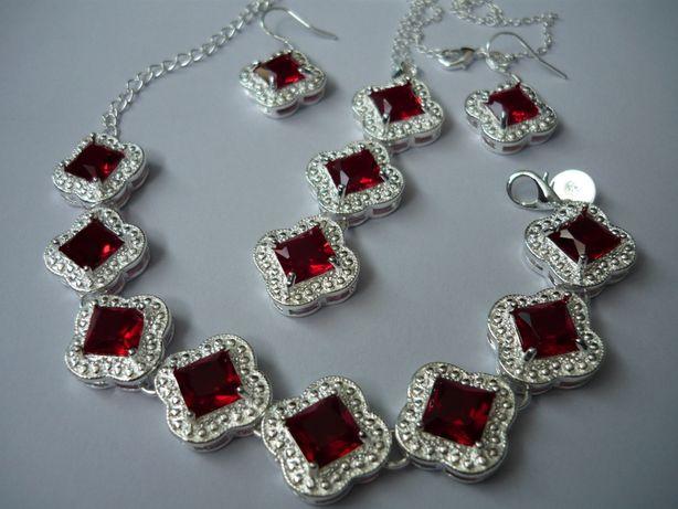Wyprzedaż ! Komplet biżuterii pr.925 czerwony