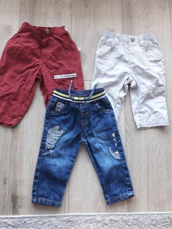 Zestaw spodni 3szt jeansy bojówki na gumie komplet spodnie