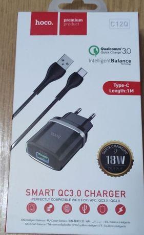 СЗУ адаптер 220V HOCO C12Q USB3.0 + кабель Type-C,новый.