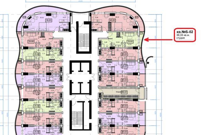 1 комнатная квартира в Аркадии 30.33 м² (890 $) возможна рассрочка