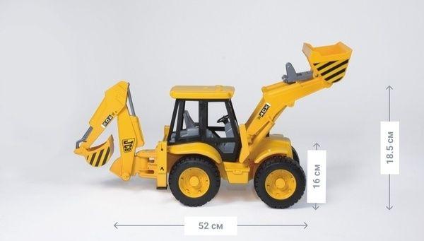 Игрушка дорожный погрузчик с экскаватором JCB 4CX,М1:16-Bruder трактор