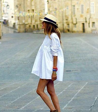 Zara biały kombinezon sukienka z popeliny Xs S M