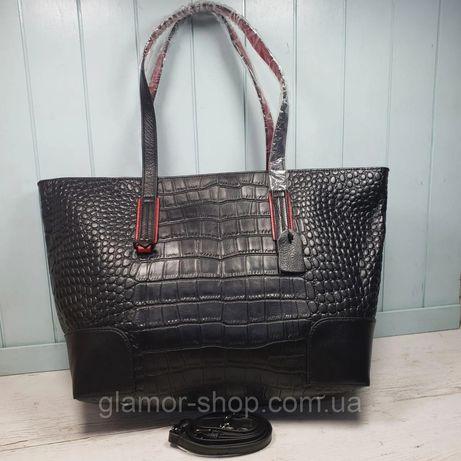 Женская кожаная сумка шоппер на плечо крокодил жіноча шкіряна чорна чё