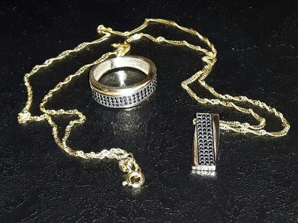CUDOWNY Komplet łańcuszek przywieszka pierścionek ZŁOTO lub zamiana