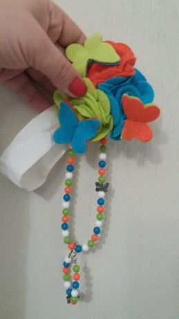 Летний комплект-повязка, бусики, браслет для девочки 1-3 лет