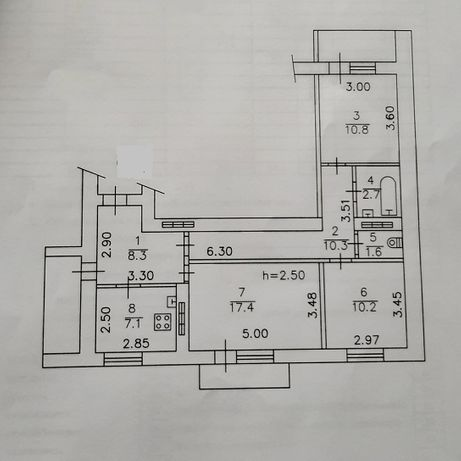 Крупногабаритная (73 кв) 3комн кв в центре, 3/9 с разд.комн.
