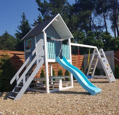 Domek Dla Dzieci Ogrodowy Drewniany Plac Zabaw Huśtawka Wspinaczka