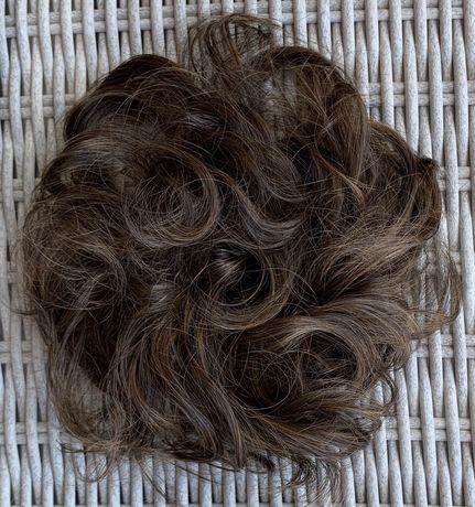 Włosy doczepiane,naturalny brąz, kok na gumce