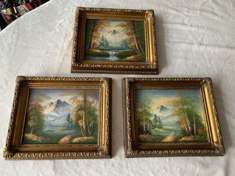 Piękna drewniana rzeźbiona rama obraz obrazek ręcznie malowany