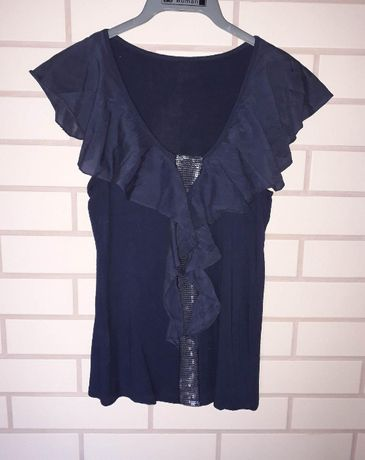 Granatowa bluzeczka top z falbankami i cekinkami rozmiar XS/S