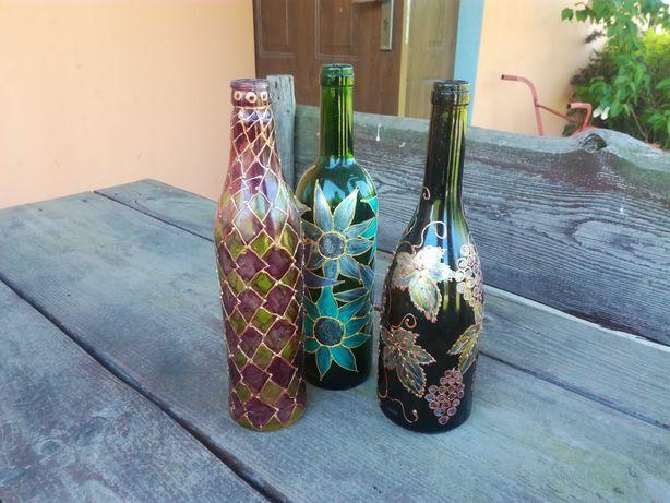 Butelka szklana ręcznie malowana, butelki szklane