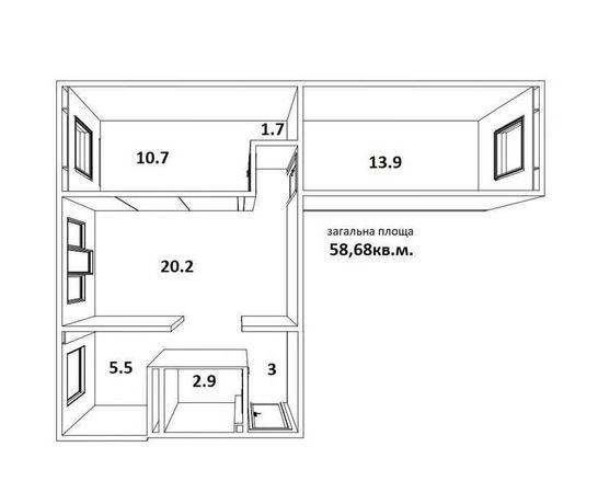 № 10924 - 3 к. квартира, Центр, Киевская, 2/5 эт., панель