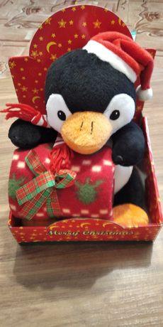 Новорічний подарунок, пінгвін з пледом
