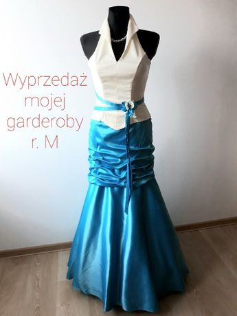 Suknia długa balowa r. M 38 gorset ecru i spódnica błękitna