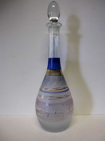 fantástica garrafa decantadora vintage em vidro artístico