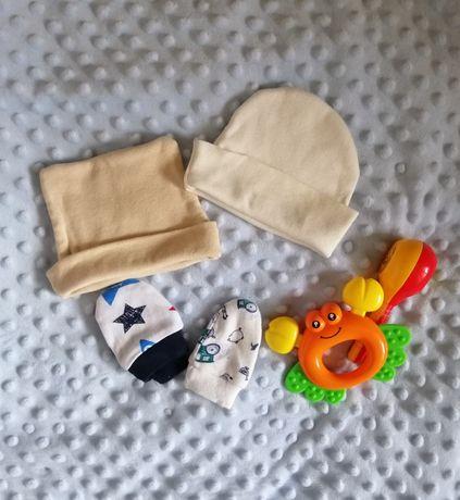Шапочки, царапки для новорождённого 0-3 месяца