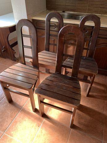 Conjunto 4 cadeiras, vintage, madeira maciça, para restauro.