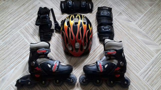 Роликовые коньки  и комплект защиты