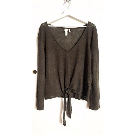 H&M sweter khaki lniany len 38 M