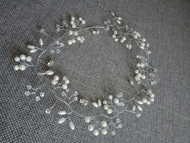 Srebrny wianek do włosów, ślub, wesele NOWY