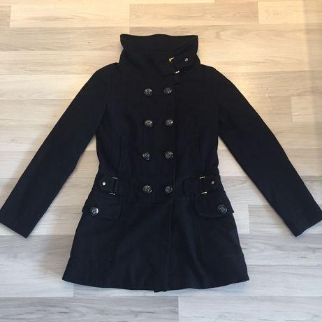 Dwurzędowy płaszcz damski reserved 40 wełna wełniany oficerski