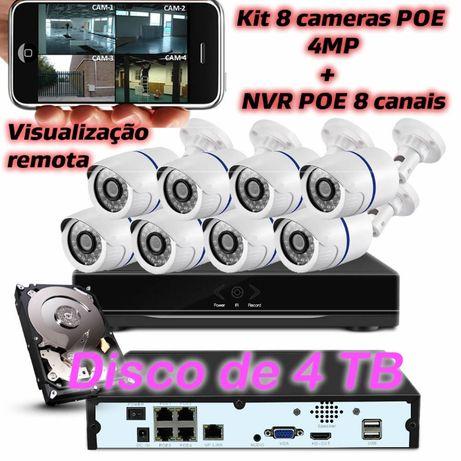 Kit 8 cameras POE IP HD 4MP + disco 4tb + NVR gravador POE de 8 canais